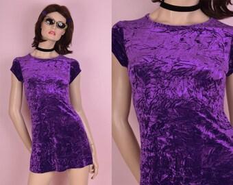 90s Purple Crushed Velvet Mini Dress/ X-Small/ 1990s/ Short Sleeve/ Club/ Rave