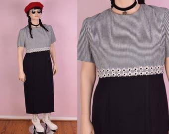 90s Black and White Maxi Dress/ XL/ 1990s/ Gingham/ Daisy Trim
