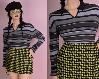 90s Striped Ribbed Knit Long Sleeve Top/ XL/ 1990s