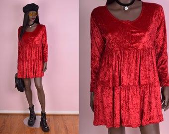 90s Red Crushed Velvet Babydoll Dress/ Medium/ 1990s/ Long Sleeve
