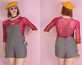 90s Gingham Romper/ Large/ 1990s