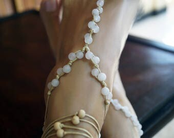 Rose Quartz Barefoot Sandals, Beach Wedding Barefoot Sandals, Gemstone Anklets, 1 Pair