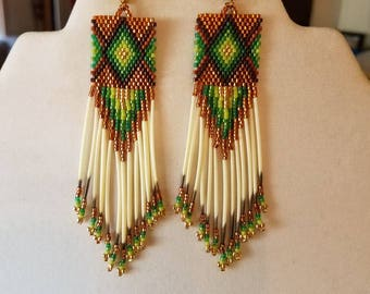 Native American Design Beaded Diamond Rug Earrings  Brown, Green and Gold with Porcupine Quills Boho, Hippie, Southwestern