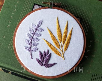 Autumn Botanical  Fall Leaves  Hand Embroidery Hoop Art Wall Hanging