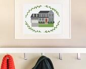 "Custom House Portrait 11x14"". Custom House Drawing. Original Home Illustration. Housewarming gift."