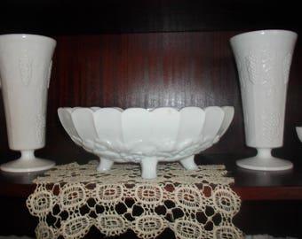 Vintage Milk Glass 3 piece Set