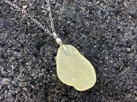 RARE Surf Tumbled Pastel Yellow Sea Glass, Sterling Silver Chain Necklace