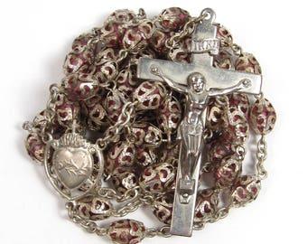 Vintage Glass Rosary Full Filigree Capped Pink Crystal Beads Crucifix Catholic