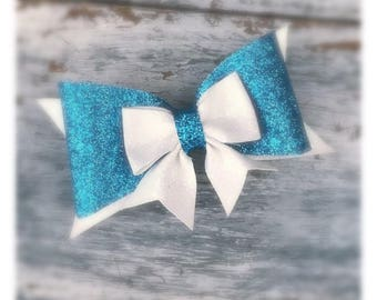 Belle bow, belle hair clip, blue hair bow, blue and white hair bow