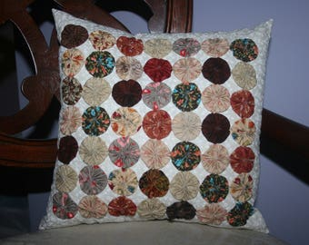 Cottage Inspired 49 Yo-Yo's or Rosette Decorative Accent Pillow Handmade Shades of Brown, Beige, Tan, Earth Tones Colors, Fall, Autumn