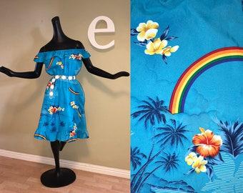Vintage 70s 80s Hawaiian Dress Sexy Off Shoulder Asymmetric Side Wrap Ruffle Skirt Hippie Boho Tiki Oasis Colorful Gay Rainbow Blue Floral