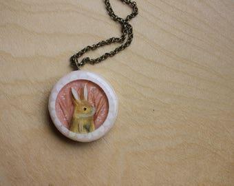Pink Bunny - Cherry Blossom Rabbit Necklace