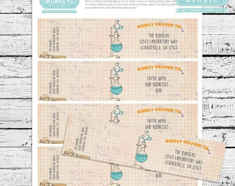 Science Birthday Party  Fillable Mailing Labels - INSTANT DOWNLOAD