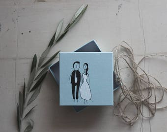 Wedding Personalized Favours - Bridal Shower Gift Box - Bride and Groom theme - Wedding Hand painted favors' box