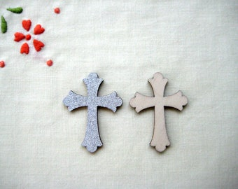 "10 pcs Wooden Silver Glitter Cross for Baptism, Christening Favors, First Communions, Religious Favors - 1.25"" W x 1.75"" H (3.3 cm x 4.5 cm)"