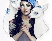 Alliance pastel goth fantasy winter deer surrealism artprint
