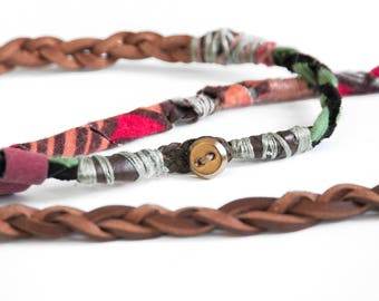 Mixed Media Jewelry, Upcycled leather braided necklace, Gift for her, Vintage button