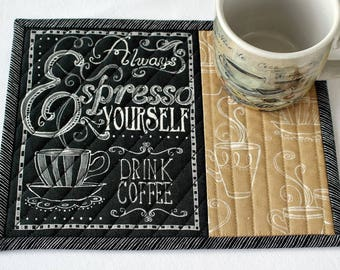 Coffee Mug Rug Quilted, Espresso, Coffee Quote, Snack Mat, Black Tan with Words, Candle Mat, Quiltsy Handmade