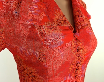 Gorgeous 70s Fitted Red Cotton Midi Dress With Revere Collar And Cover Button Detail