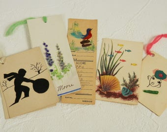 Vintage Used Bridge Tally Cards, Feather Bird Tally Card, Shell Flower Tally Card, Five Vintage Bridge Tally Cards