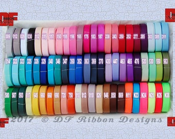 3/8 inch Solid Grosgrain Ribbon - NEW COLORS ADDED - 5 yards - 69 colors to choose from - wholesale prices