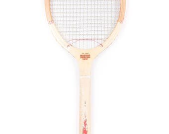 Vintage Wooden Tennis Racquet / White Magnan Aristocrat Tennis Racket / Antique Wood Tennis Racket / Antique Tennis Racket Sports Decor