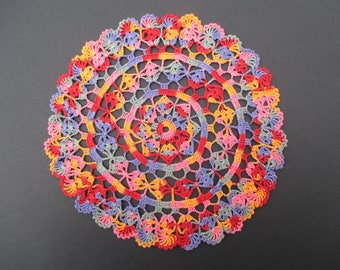 Crocheted Doily - Multi-Colored - 11 Inch Diameter - Variegated