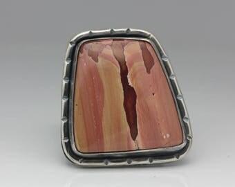 Antelope Jasper Ring, Jasper & Sterling Ring, Boho Statement Ring, Unisex, Adjustable
