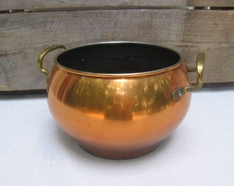 "Copper Pot with Handles, Rustic Round Copper Bowl, Decoration Only, Home Decor, 5"" Round Bowl"