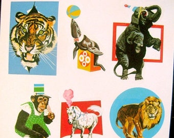 SALE Rare Vintage Eureka Circus Animals Sticker Sheet 80's Monkey Elephant Lion Seal Tiger
