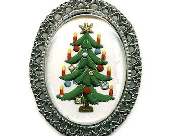 Vintage Christmas Tree Pin 52 x 42mm Bezel Set Glass Intaglio Cabochon