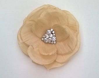 Candlelight Ivory Silk Flower Hair Clip with Rhinestone Center - Handcrafted Wild Rose - Bridal, Bridesmaid, Wedding Hair Accessory