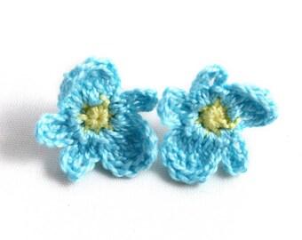 Earrings - Vegan Earrings - Vegan Jewelry - Earrings Studs - Crochet Earrings - Flower Earrings - Stainless Steel Earrings - Blue Earrings