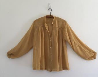 Vintage 80's Mustard Stripe Sheer Blouse M