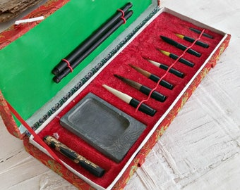 Vintage Calligraphy Brush Set, Water Color Ink Brushes, Chinese Gift Brush Set, Gift for Artist 7 Graduated Brushes for Painting  Stationary