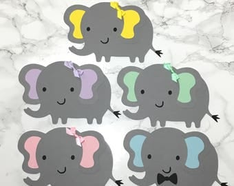 Elephant cut out | die cut | baby shower for diaper cake | centerpiece | pink | mint | blue | yellow | gray | bow | bow tie | boy | girl|