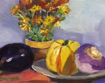 Harvest Still Life Small Oil Painting on Canvas