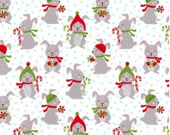 Winter Bunny Rabbits on White from Robert Kaufman's Frosty Friends Collection by Andie Hanna