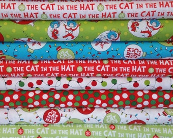 The Cat In The Hat Christmas Bundle from Robert Kaufman - Dr Seuss Fabric - 10 Fabrics