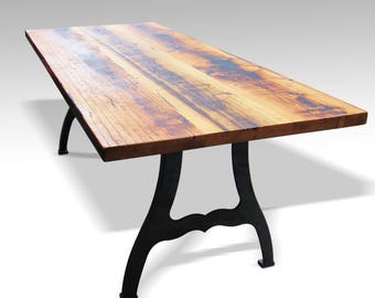 Reclaimed Farm Table with New York Machine Legs - 8', 9', or 10' Foot