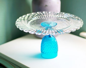 Glass Cake Stand / Blue Glass Cake Stand / Cake Platter / Cake Dish / Cake Plate for Vintage Blue Weddings