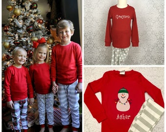 Personalized Kids Pajamas, Monogrammed Christmas Pajamas, Organic Cotton Christmas Pajamas, Plaid Pajamas PREORDER