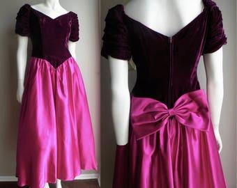 80s Prom Dress in Purple velvet and Fuchsia satin Off the Shoulder Neckline - M
