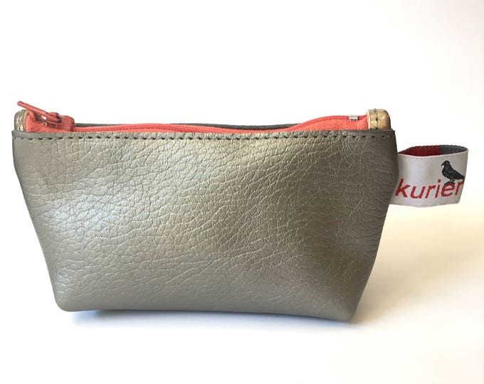 Small silver leather coin/makeup pouch