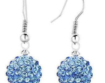 10mm Light Blue Shamballa Dangle Drop Swarovski Crystal Pave  Earrings With 925 Sterling Silver French Ear Wires