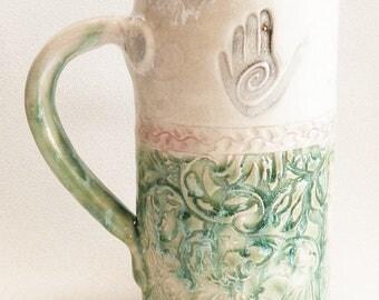 healing hand ceramic stoneware coffee mug 20oz  stoneware 20D011