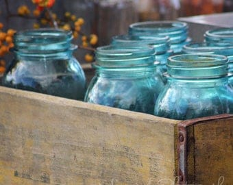 Blue, Ball Jars, Kitchen, Summer, Farmer's Market, Minimalist, Country, Rustic, Home Decor, Original Fine Art Photograph, Square, Print