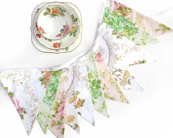 Vintage Bunting Spring Ivory Lace Floral Flags. Shabby Chic . Garden Party Decoration , High Tea / Kitchen Tea Wedding Pennant.