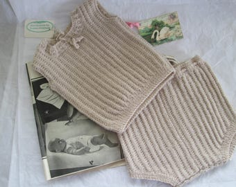 Hand Knit Baby Vest Soakers Se tPure Wool Ready to ship Vintage Style 0 to 6M