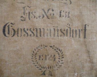 Reserved for Joanne Antique Grain Sack 1924, German Grain Sack, Black Stencil Printed, Linen Rustic Textile Black Monogram
